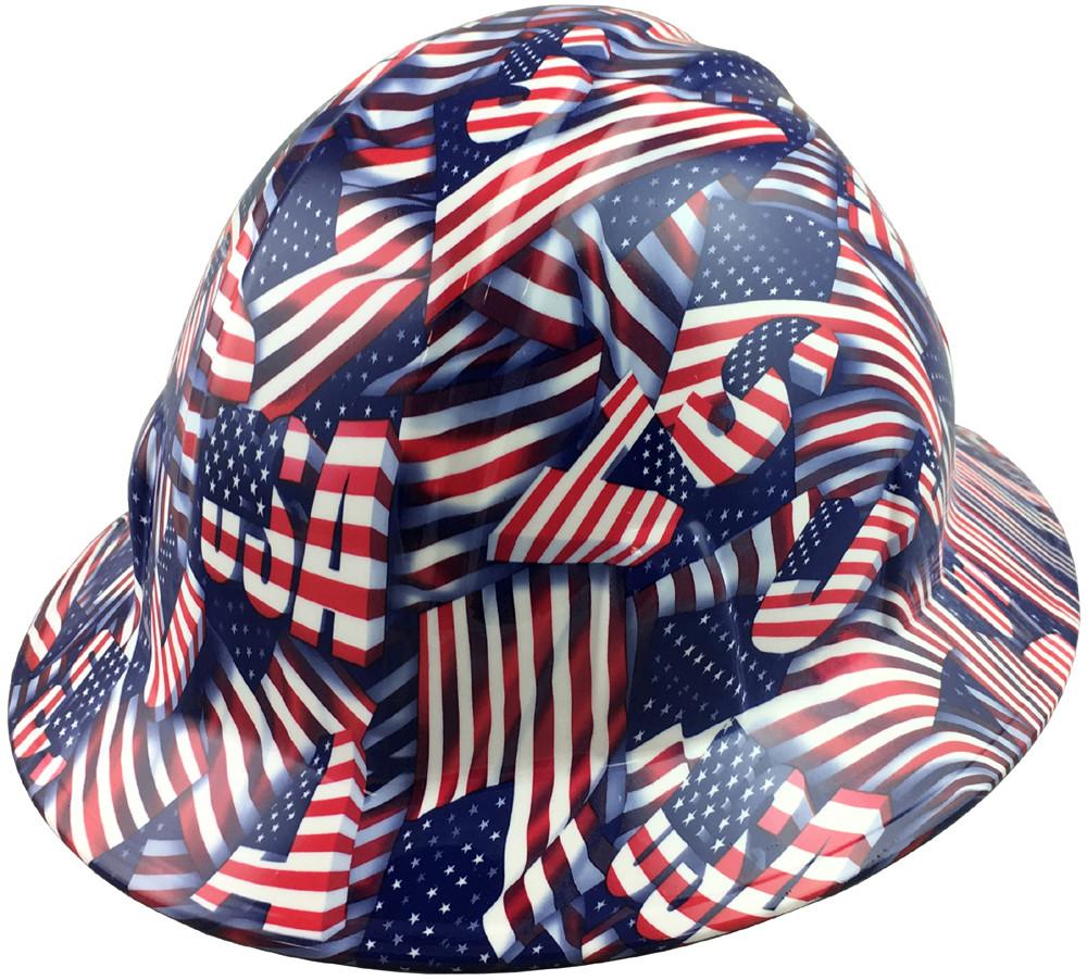 USA Printed Flag Full Brim Hydro Dipped Hard Hats