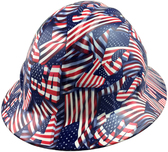 USA Flag Style Full Brim Hydro Dipped Hard Hats - Oblique View