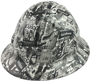 Social Media Style Full Brim Hydro Dipped Hard Hats - Oblique View