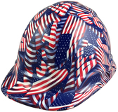 USA Flag Cap Style Hydro Dipped Hard Hats - Oblique View