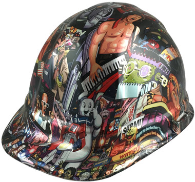 80's Design Style Hydro Dipped Hard Hats - Oblique View