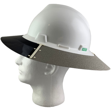 MSA Full Brim V-Guard Hard Hat with Sun Shield - White