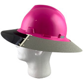 MSA Full Brim V-Guard Hard Hat with Sun Shield - Pink