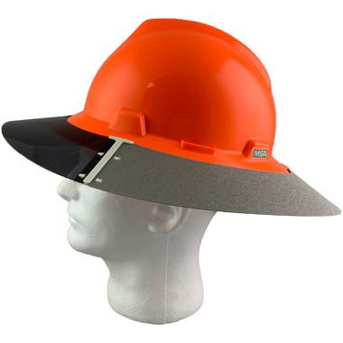 MSA Full Brim V-Guard Hard Hat with Sun Shield - Hi-Viz Orange