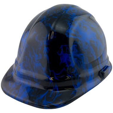 Blue Flames Design Cap Style Hydro Dipped Hard Hats - Oblique View