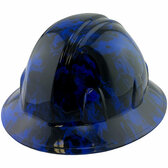Blue Flames Style Full Brim Hydro Dipped Hard Hats - Oblique View