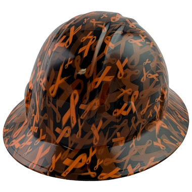 Orange Ribbon Style Full Brim Hydro Dipped Hard Hats - Oblique View