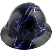 Lightning Storm Style Full Brim Hydro Dipped Hard Hats - Oblique View