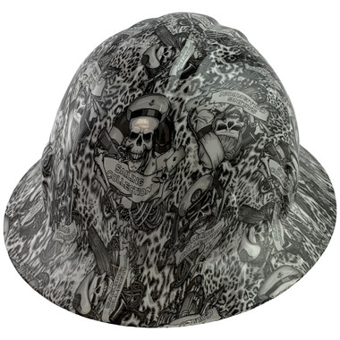 Skeleton Sailors Style Full Brim Hydro Dipped Hard Hats - Oblique View