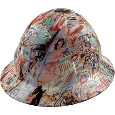 Vintage Pin Up Girls Design Full Brim Hydro Dipped Hard Hats - Oblique View