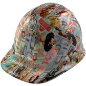 Vintage Pin Up Girls Cap Style Hydro Dipped Hard Hats - Oblique View