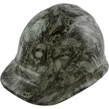 GLOW IN THE DARK Skeleton Sailors Style Cap Style Hydro Dipped Hard Hats - Oblique View
