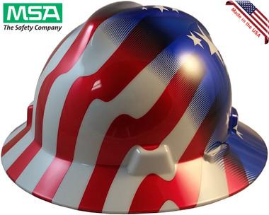 MSA FULL BRIM American Stars and Stripes Hard Hats - Oblique View