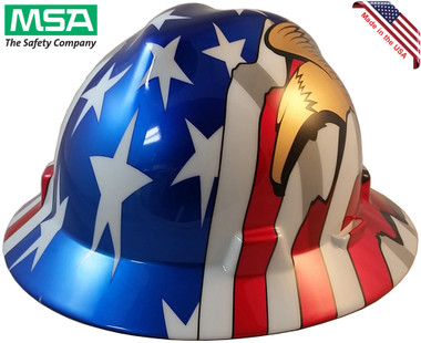 MSA Freedom Series Full Brim American Flag Hard Hats with 2 Eagles - Staz On Suspension - Oblique View