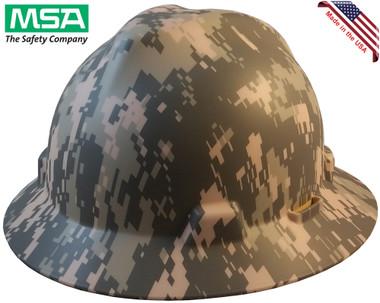 MSA FULL BRIM ACU Design Camoflauge Hard Hats - Staz On Suspension - Oblique View