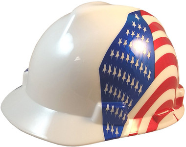 MSA USA Freedom Series Hard Hat with Dual American Flag on Both Sides - Staz On Suspension - Oblique View