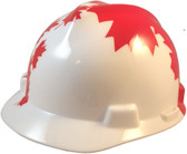 MSA Freedom Series Hard Hat with White Shell, Canadian Flag - Staz On Suspension - Oblique View