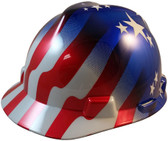 MSA USA Freedom Series Hard Hat with American Flag Stars and Stripes - Staz On Suspension - Oblique View