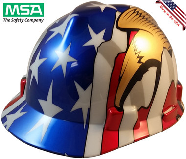 MSA USA Freedom Series Hard Hat with American Flag and 2 Eagles - Staz On Suspension  - Oblique View