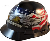 MSA USA Freedom Series Hard Hat with American Pride USA Eagle - Staz On Suspension  - Oblique View