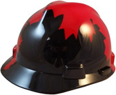 MSA Freedom Series Hard Hat with Black Shell, Canadian Flag - Staz On Suspension - Oblique View