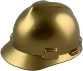 MSA V-Gard Cap Style Metallic Gold Hard Hats with One Touch Suspension  - Oblique View