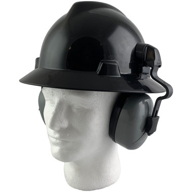 MSA Full Brim V-Guard Hard Hat with Earmuff Attachment - Black