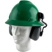 MSA Full Brim V-Guard Hard Hat with Earmuff Attachment - Green