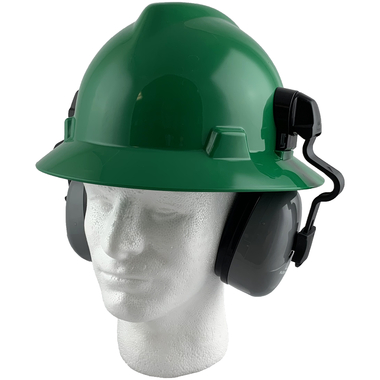 MSA Full Brim V-Guard Hard Hat with Earmuff Attachment - Green