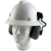 MSA Full Brim V-Guard Hard Hat with Earmuff Attachment - White