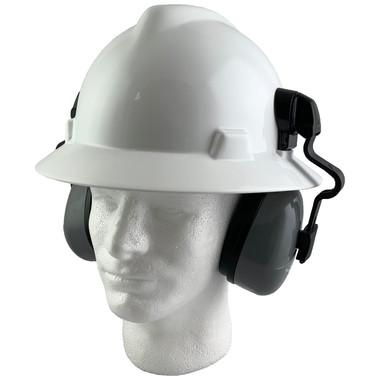 MSA Full Brim V-Guard Hard Hat with Earmuff Attachment - White