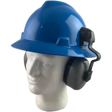 MSA Full Brim V-Guard Hard Hat with Earmuff Attachment - Blue
