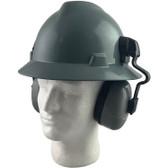 MSA Full Brim V-Guard Hard Hat with Earmuff Attachment - Gray