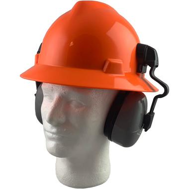 MSA Full Brim V-Guard Hard Hat with Earmuff Attachment - Hi Viz Orange