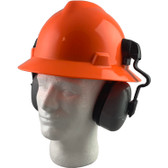 MSA Full Brim V-Guard Hard Hat with Earmuff Attachment - Hi Viz Orange