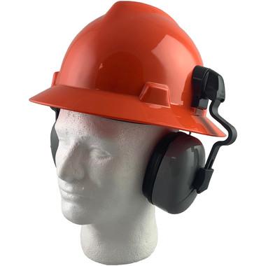 MSA Full Brim V-Guard Hard Hat with Earmuff Attachment - Orange