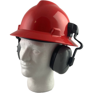MSA Full Brim V-Guard Hard Hat with Earmuff Attachment - Red