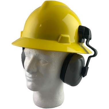 MSA Full Brim V-Guard Hard Hat with Earmuff Attachment - Yellow