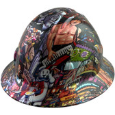 80's Design Full Brim Hydro Dipped Hard Hats - Oblique View