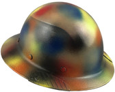 Actual Carbon Fiber Hard Hat - Full Brim Textured Paintball Camo ~ Oblique View
