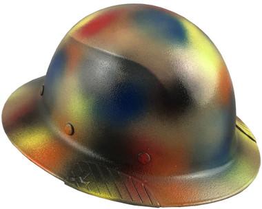 Actual Carbon Fiber Hard Hat - Full Brim Textured Paintball Camo ~ Oblique View