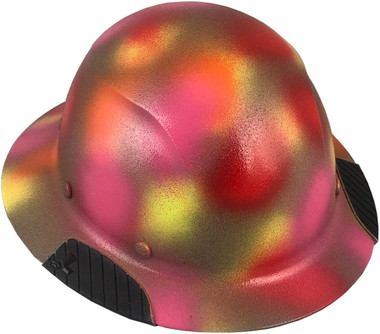 DAX Fiberglass Composite Hard Hat - Full Brim Textured Paintball Camo ~ Oblique View