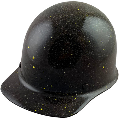 Skullgard Cap Style With Ratchet Suspension Black with Yellow Paint Splatters ~ Oblique View