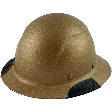 Actual Carbon Fiber Hard Hat - Full Brim Glitter Gold - Oblique View