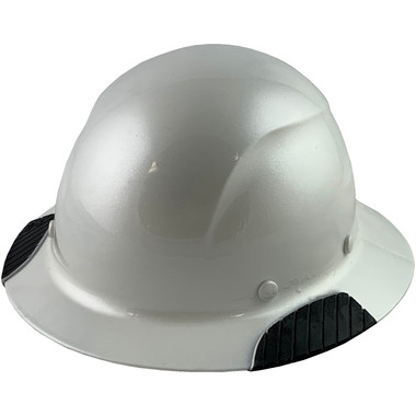 Actual Carbon Fiber Hard Hat - Full Brim Pearl White - Oblique View