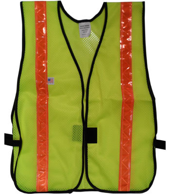 Lime Soft Mesh Safety Vests with 1.5 Inch Orange Stripes Pic 3