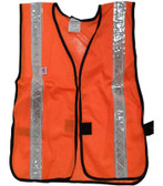 Orange Soft Mesh Safety Vests with 1.5 Inch Silver Stripes Pic 3