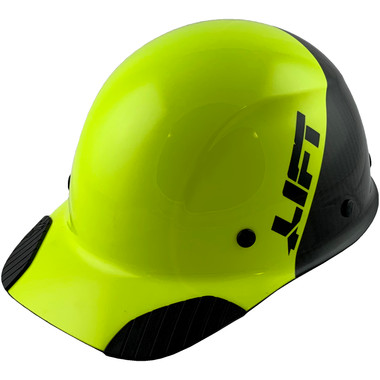 Actual Carbon Fiber Hard Hat - Cap Style Black and Hi Viz Lime - Oblique View