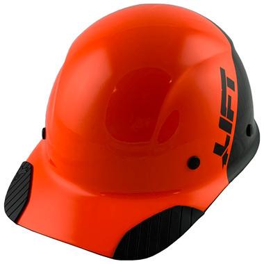 Actual Carbon Fiber Hard Hat - Cap Style Black and Hi Viz Orange - Oblique View