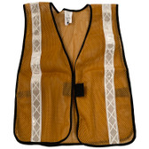 Gold Mesh Plain Safety Vest with Silver Stripes
